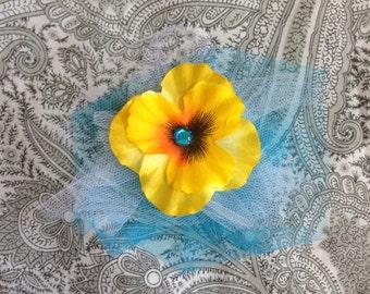 Pansy Hair clip, Yellow Hair Clip, Flower Hair Clip