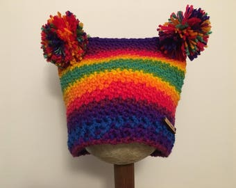 Rainbow  stripes square hat with pompoms