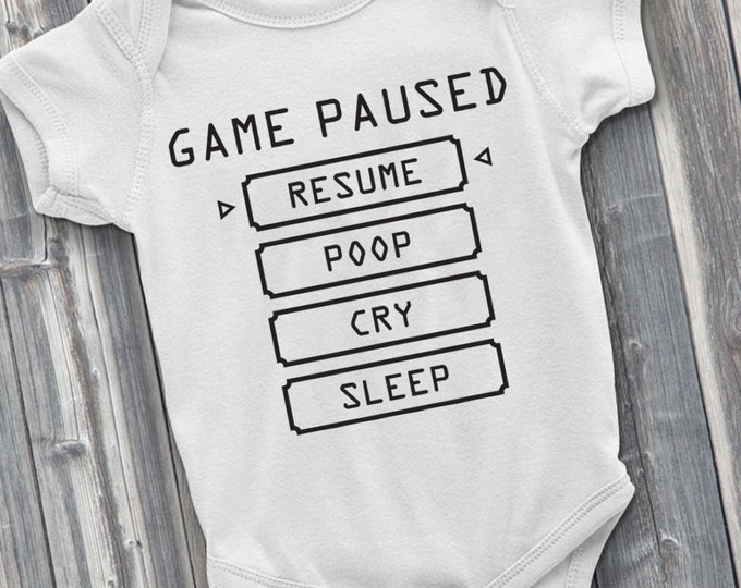 Baby Pause Menu 100% Soft Cotton Gamer ONESIE
