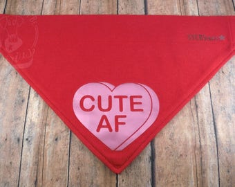 Cute AF Valentine's V-Shirt. Red cotton graphic over-the-collar bandana for dogs.