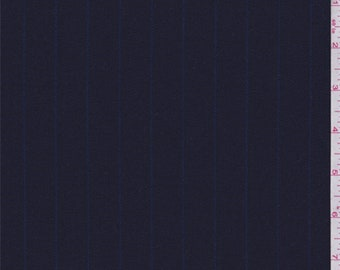 Navy Pinstripe Wool Blend Gabardine Suiting, Fabric By The Yard