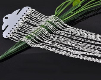 12pcs 24inch Silver Necklace Chains - Silver Plated Chain Necklace - 3mm x 2mm Lobster Clasp Jewelry Findings - Wholesale Bulk Lot Chain
