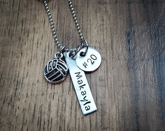 Hand Stamped Personalized Volleyball Necklace  - Girls Volleyball Gift -  Volleyball Gift - Volleyball Team Gifts