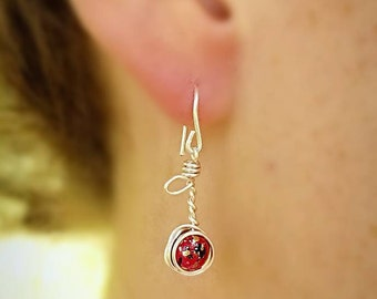 Cherry Earrings, Red Earrings, Stem and Leaf Earrings, Wire Earrings, Dangle Earrings