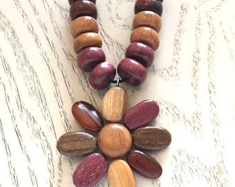 Costa Rican Wood Necklace, Flower Pendant Necklace, Handmade Costa Rican Wood Jewelry