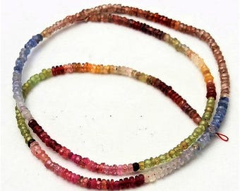 """Natural Multi sapphire faceted beads ,Rondelle beads , 2 mm  Approx ,16 """" strand [E0946] multi sapphire beads Amazing quality"""