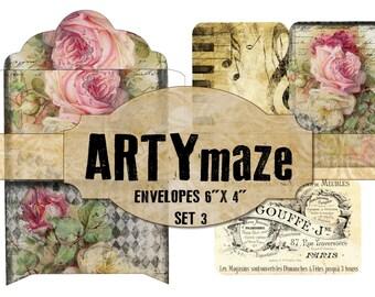 """3 Printable  Envelopes & Matching Journaling cards 6"""" x 4"""" SET 3"""