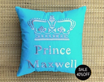 40%OFF sale Prince Princess Crown Custom Name Pillow  Couple Wedding Love Birthday Dorm Decor Anniversary Gift in All Sizes