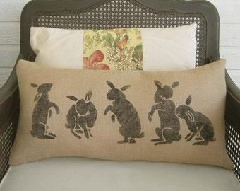 Les Lapins -  The Rabbits  - Burlap  Pillow - Rabbit Pillow - Spring Decor - Easter Decor - Lumbar Pillow - Bunny Pillow