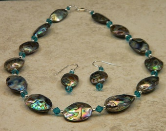 Abalone Shell and Sterling Silver OOAK Beaded Necklace and Earrings Set