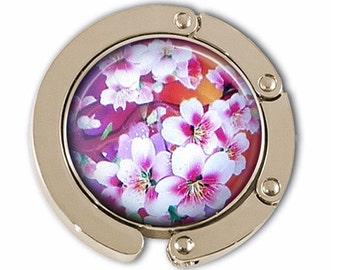 Pink Cherry Blossoms Purse Hook - Silver Purse Hanger