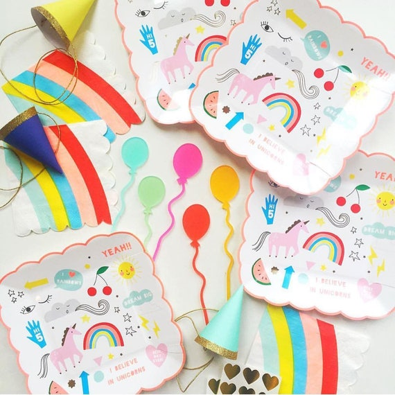 Unicorn Birthday Party Plates//Party Decorations//Unicorn Plates//First Birthday//Tableware//Rainbow Plate//Party Supplies//Table decoration from ...  sc 1 st  Etsy Studio & Unicorn Birthday Party Plates//Party Decorations//Unicorn Plates ...
