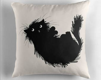 Moggy (No.3) - Black and White - Throw Pillow / Cushion Cover by Oliver Lake / iOTA iLLUSTRATION