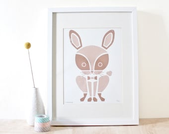 SALE! Rabbit Print, Nursery Art, Animal Print, Bunny Art