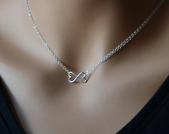 All Sterling Silver Infinity Heart Necklace, Two Hearts Mother's Wife's Necklace Sterling Jewelry