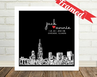 Chicago Skyline Wedding Gift Chicago Art Chicago Print Personalized FRAMED ART Chicago Wedding Any City Available Worldwide Chicago Gift