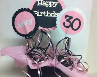 30th Birthday Table Decorations 3 Piece Sign Set with Personalized Text and Party Display Tray