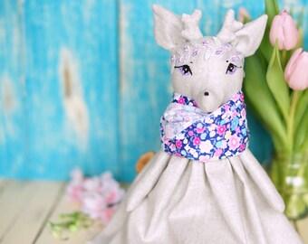 Spring fairy soft doll with floral scarf Deer animal doll Woodland plush doll Rag doll deer Cloth doll Princess doll Stuffed doll Ooak doll