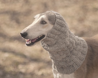 Large grey dog snood // ready to ship // hand-knit 100% wool dog snood