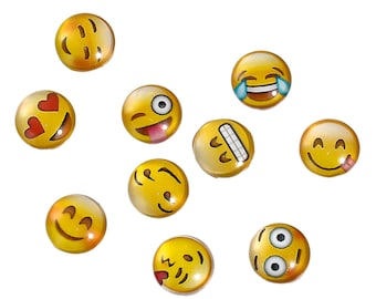 20 pcs Emoji Cabochons Glass 12 mm round domes Cameos Emoticon Smiley Faces Yellow Love Heart Blushing Happy Internet Culture Embellishments