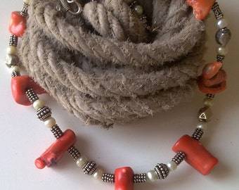 OPULENT  coral, pearl and silver necklace.