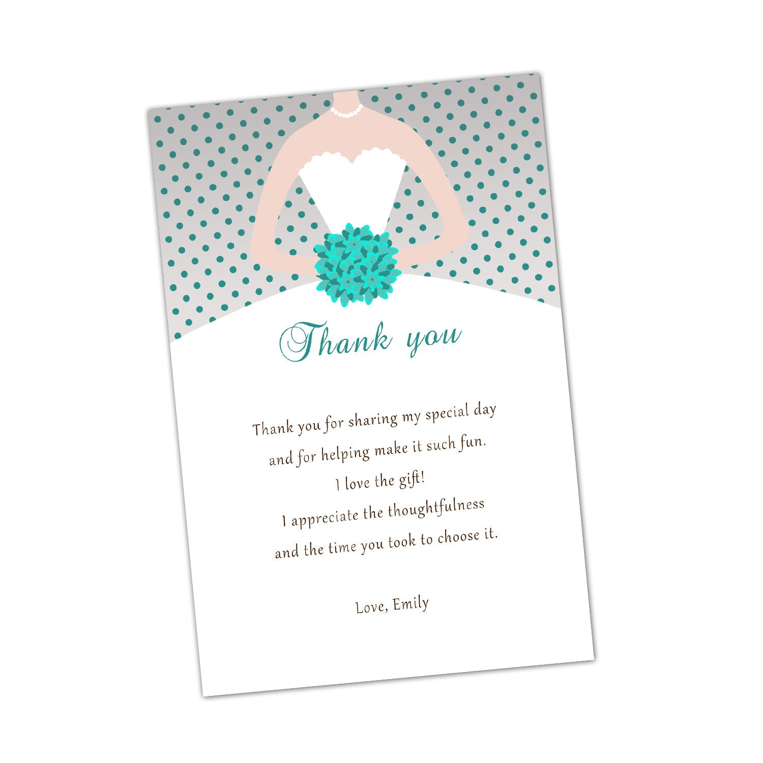 Grey turquoise bridal shower thank you cards bouquet bride zoom kristyandbryce Gallery