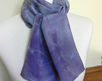 Long Tie-Dyed Silk Scarf Hand Dyed Blue and Purple Geometric silk scarf #434, Ready to Ship