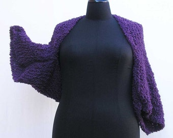 Purple Shrug, plus size shrug, purple bolero, knitted shrug, violet shrug, violet bolero, boho shrug, knit shrug, knitted bolero knit bolero