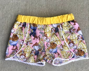 Beauty and the Beast coachella shorts, girls Belle shorts, Girl clothes, Pom Pom shorts