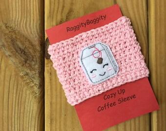 Tea Bag Cozy - Cup Sleeve - Tea Lovers Cup Sleeve - Coffee Cozy - Coffee Cup Cozy