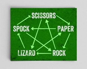 Rock Paper Scissors Lizard Spock Rules, Nerdy Home Decor, Big Bang Theory, Nerdy Housewarming Gifts, Coworker Gift Ideas