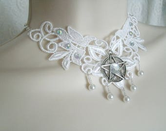 Pentacle Choker Necklace, wiccan jewelry pagan jewelry wicca jewelry witch witchcraft pentagram necklace goddess handfasting pagan necklace