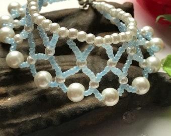 Blue Woven Bracelet, Blue Bracelet, Woven Bracelet, Blue Bead Bracelet, Blue and White Bracelet, Wedding Jewellery, Woven Blue Bracelet