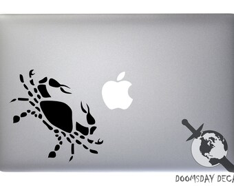 Cancer Zodiac Symbol Silhouette 4th Sign Crab - Vinyl Decal for Macbook, Laptop, Wall, Window