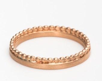 Thin Rose Gold Wedding Band, Dainty Wedding Ring, 18k Rose Gold Ring, Delicate Dot Ring, Alternative Wedding Bands