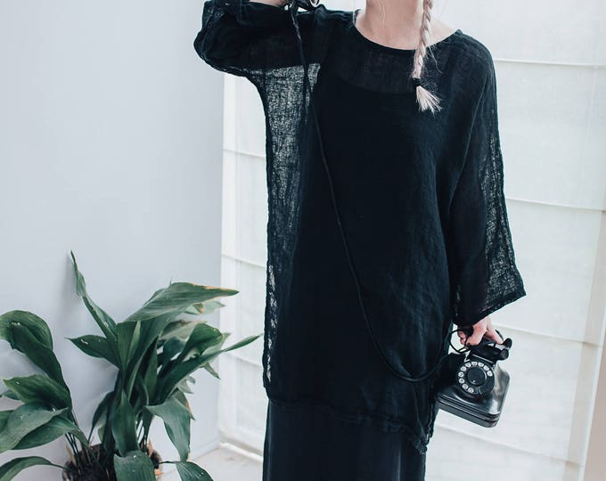 Black Gauze Linen Tunic, Loose Linen Tunic Top, Gauzy Lightweight Coverup, Gauze Top, Beach Cover Up Plus size cover up Plus Size Tunic Top