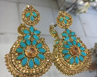 Indian style froza and antique gold earrings