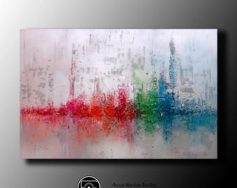 Customer Acrylic Abstract Painting Metallic Painting Original Palette Knife Painting Fine Art Canvas Acrylic Thick Texture Anna Bulka