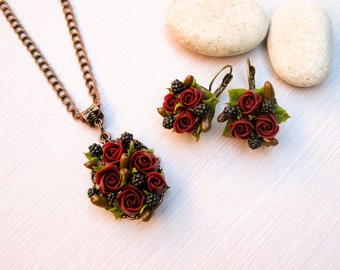 Gift for woman Rustic wedding jewelry Fall wedding jewelry Autumn wedding necklace Flower jewelry Flower earrings Flower necklace Dark red