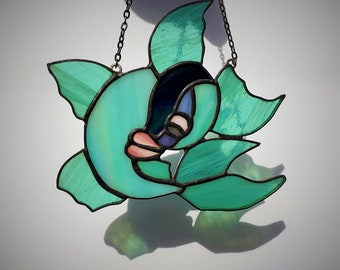 Oriental Fish / Goldfish / Koi Chinese Japanese Stained Glass Suncatcher Pair / single ornament symbolism spirituality watercolour luck love