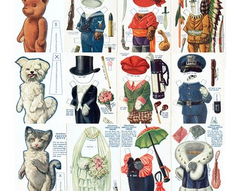 Printable Paper Doll Animals Bear Dog Cat  Paper Doll 3 Sheets Vintage Instant Download