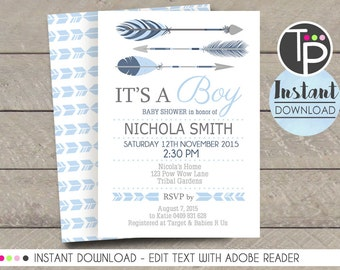 TRIBAL ARROW Baby Shower Invitation, Download ARROW Baby Shower Invitation, Navy Blue Arrow Baby Shower, Boy Baby Shower, Editable template