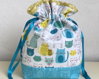 Knitters /Crafters Project Bag - Kitty Cat - Blue