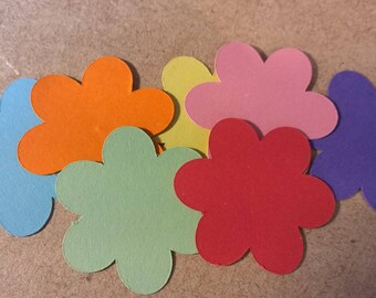 Rainbow Coloured Card Flower embellishments x 140 pieces