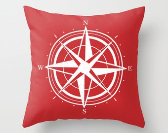 Compass Pillow Cover - Red and White - Modern Pillow Cover - Compass Graphic Pillow - Nautical Home Decor - includes insert