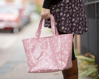 Reusable Shopping Bag - Oilcloth Tote - Oilcloth Bag - Pink Spotty Bag