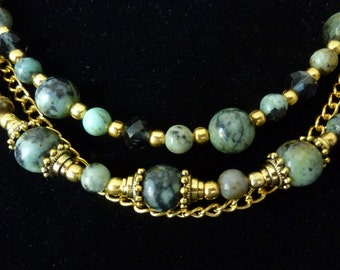 "African Turquoise necklace 19"" and matching earrings"
