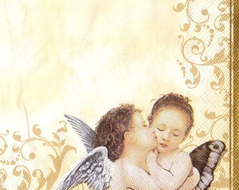 "Decoupage  Napkins Angels33x33 cm. 13""x13"" set of 6 pcs Napkins"