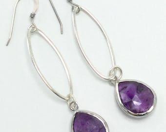 Sterling and purple Amethyst earrings, gift for her, February