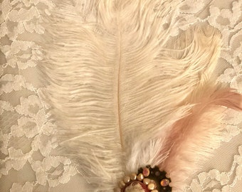 Wedding Cameo Ostrich feather hair clip